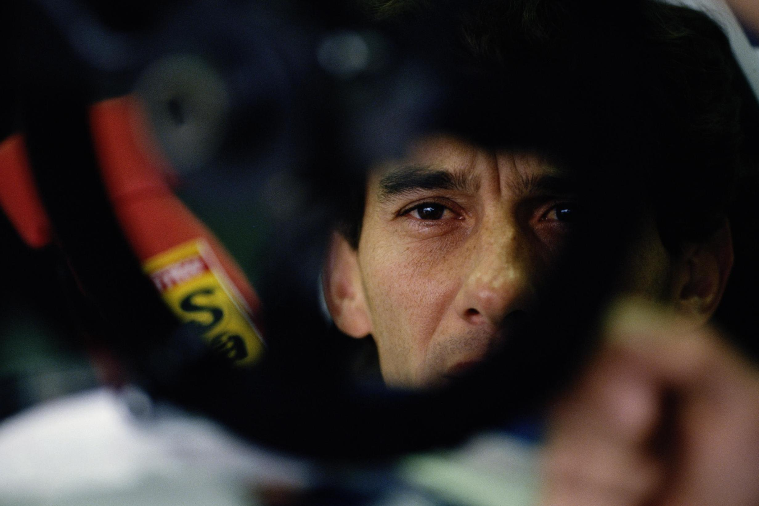 Ayrton Senna just before the start of the San Marino Grand Prix in 1994, where he died