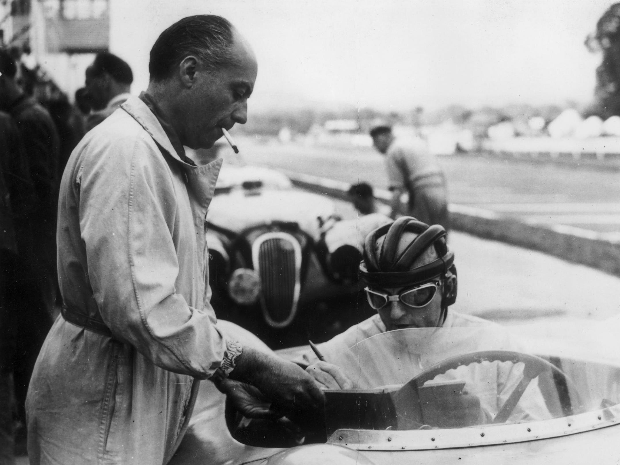 Levegh (left) and Philippe Etancelin at the International nine-hour endurance race at Goodwood in 1952
