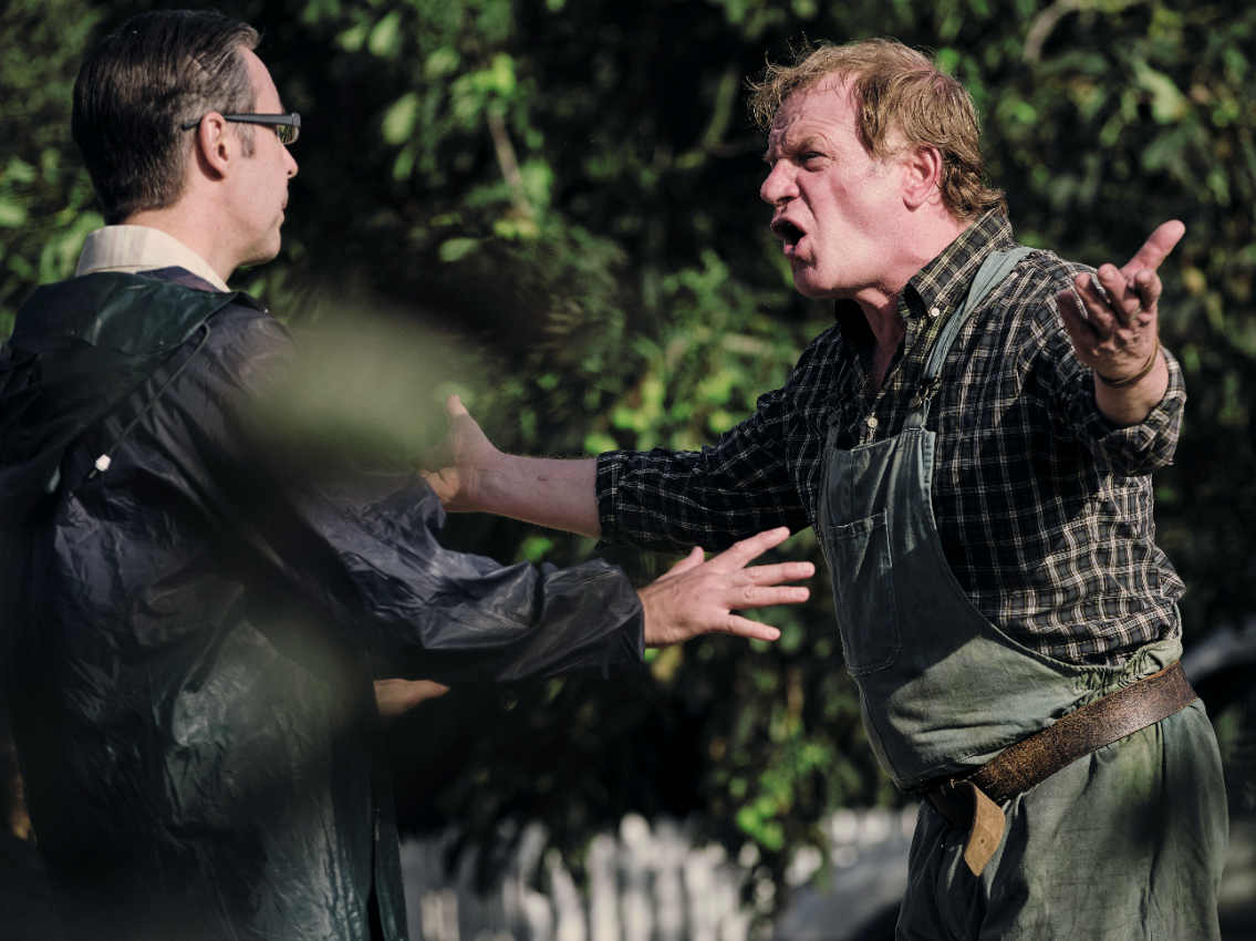 Mr Martin (Paddy Considine) and Jason (Mark Lewis Jones) see tempers rise during The Third Day's first episode