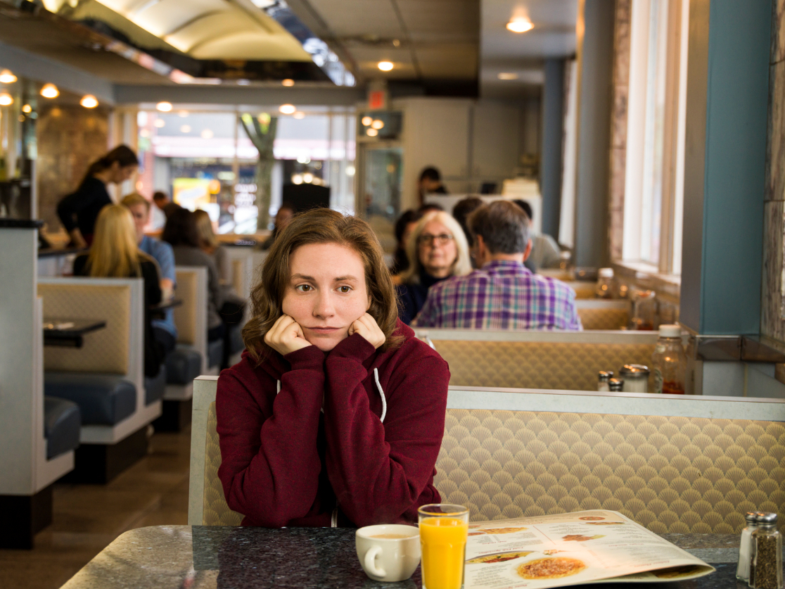 Lena Dunham as Hannah Horvath in 'Latching', the final episode of the hit series 'Girls'