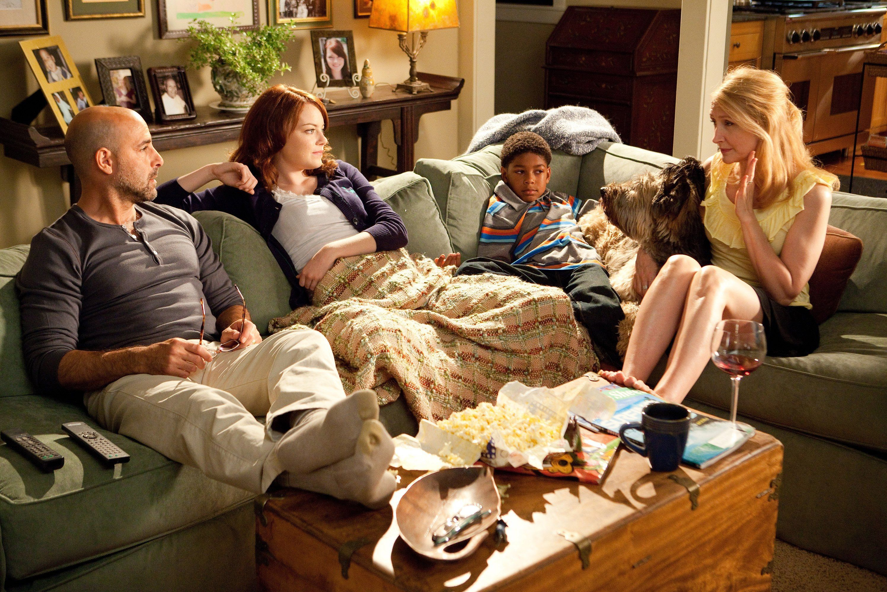 'I found [the script] rather irresistible': Patricia Clarkson (r) with Stanley Tucci, Emma Stone and Bryce Clyde Jenkins