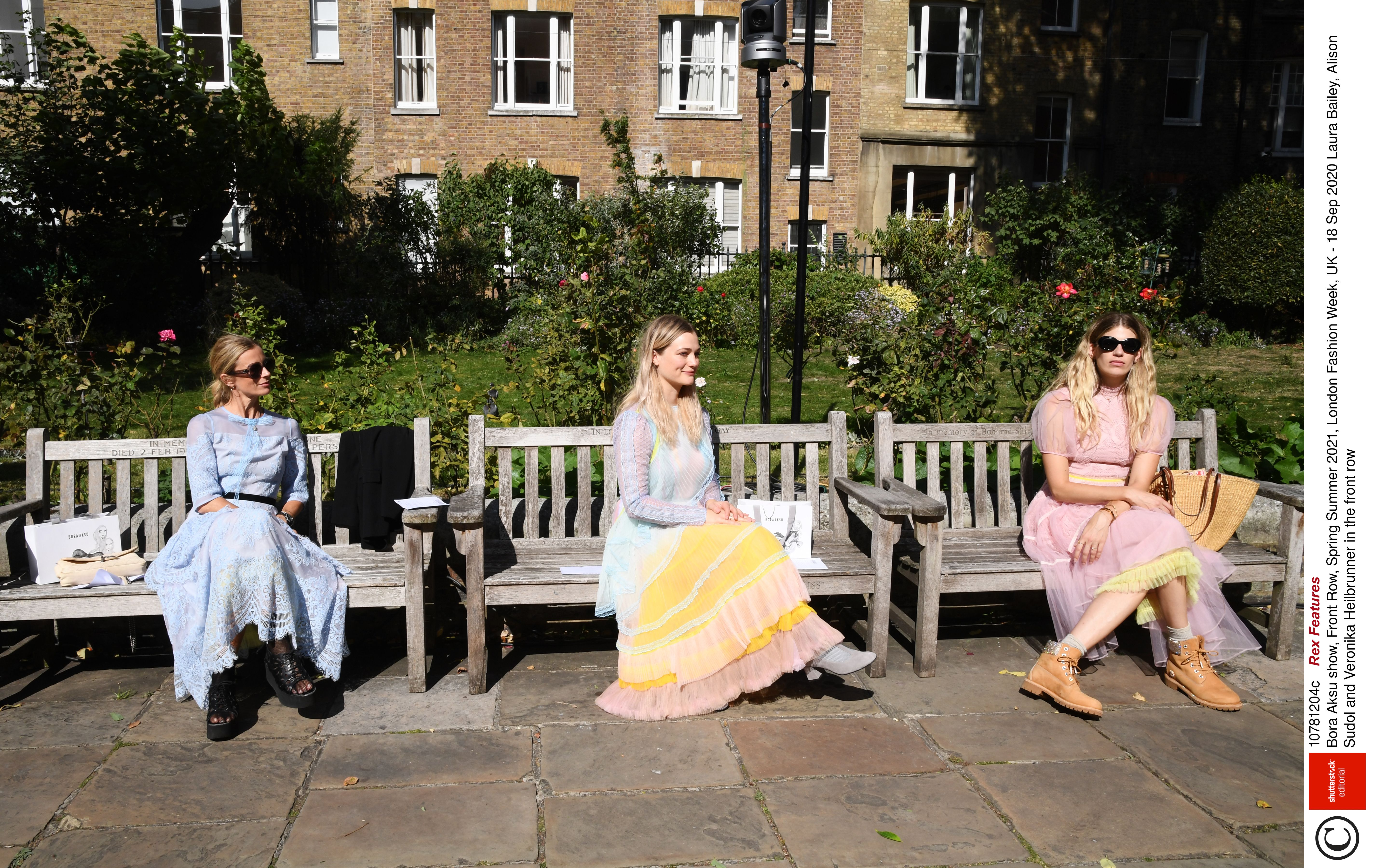 Guests attend the Bora Aksu SS21 fashion show in London
