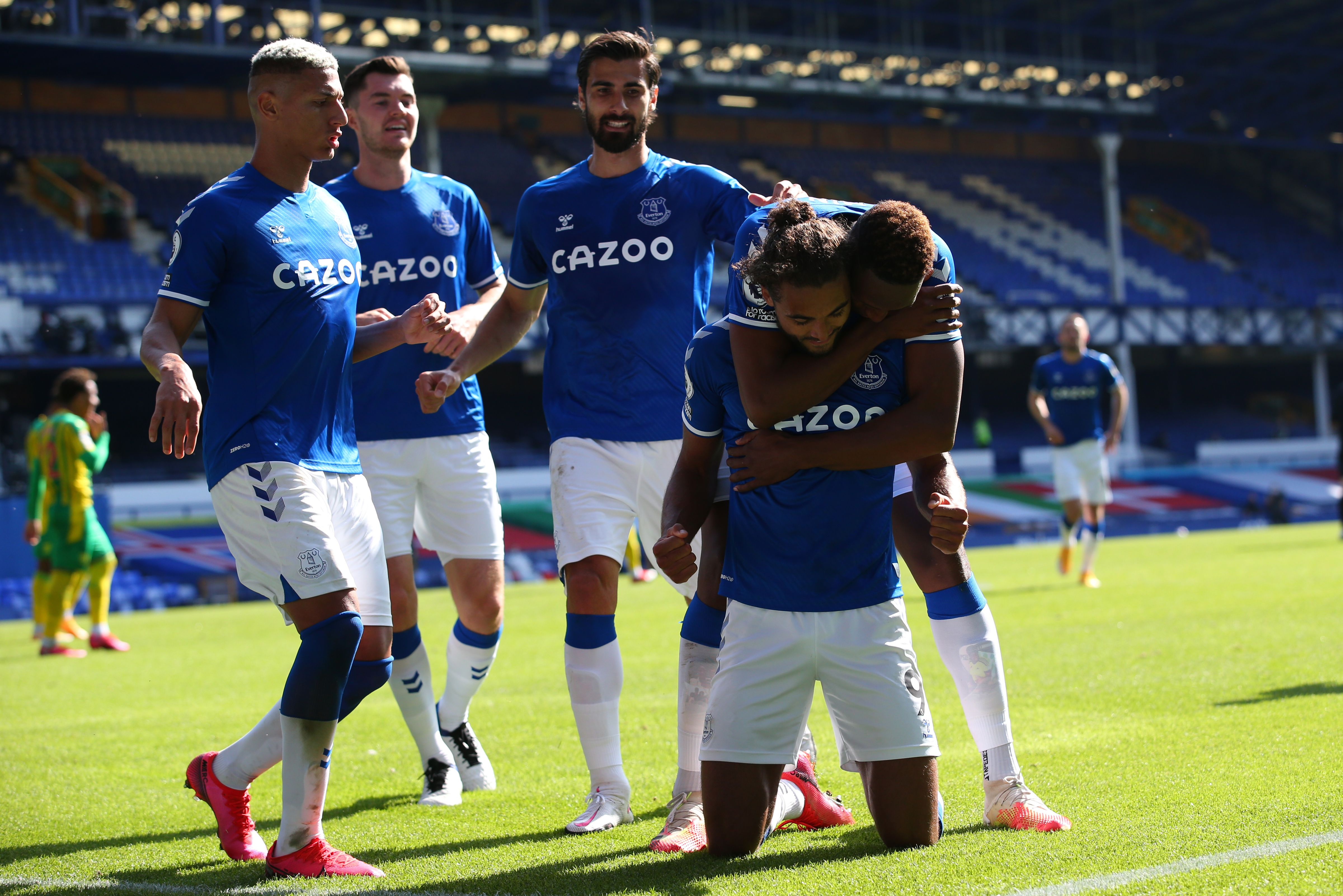 Everton players celebrate with hat-trick hero Dominic Calvert-Lewin