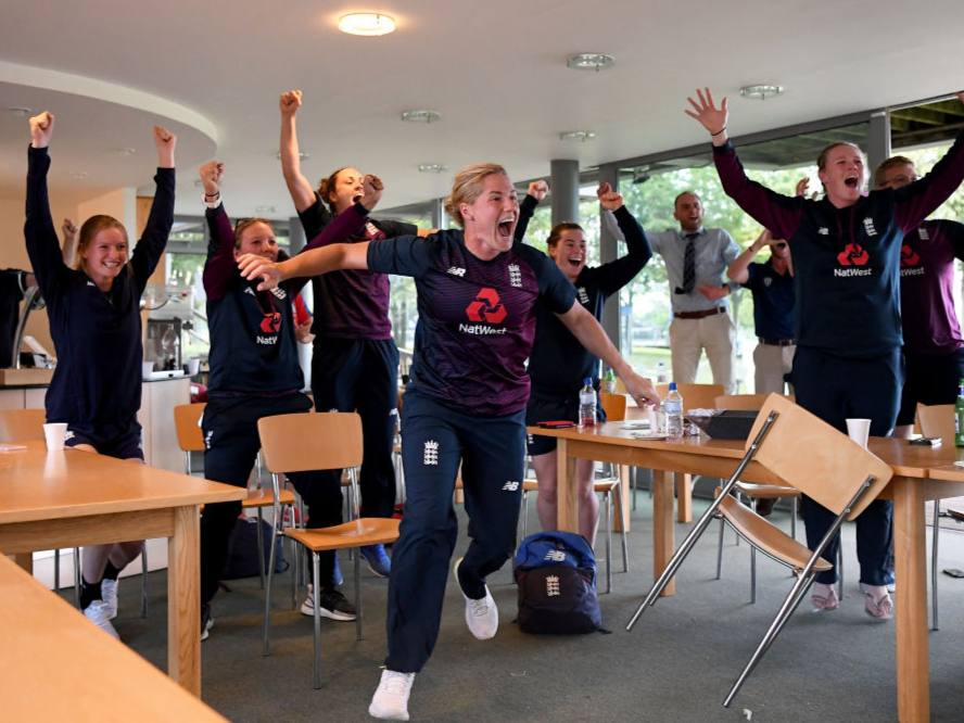 England celebrate the men's team's 2019 World Cup victory