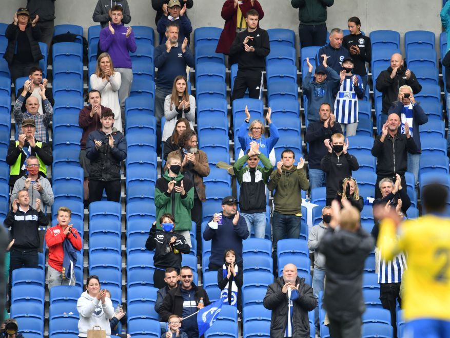 Socially distanced fans at the Brighton vs Chelsea friendly