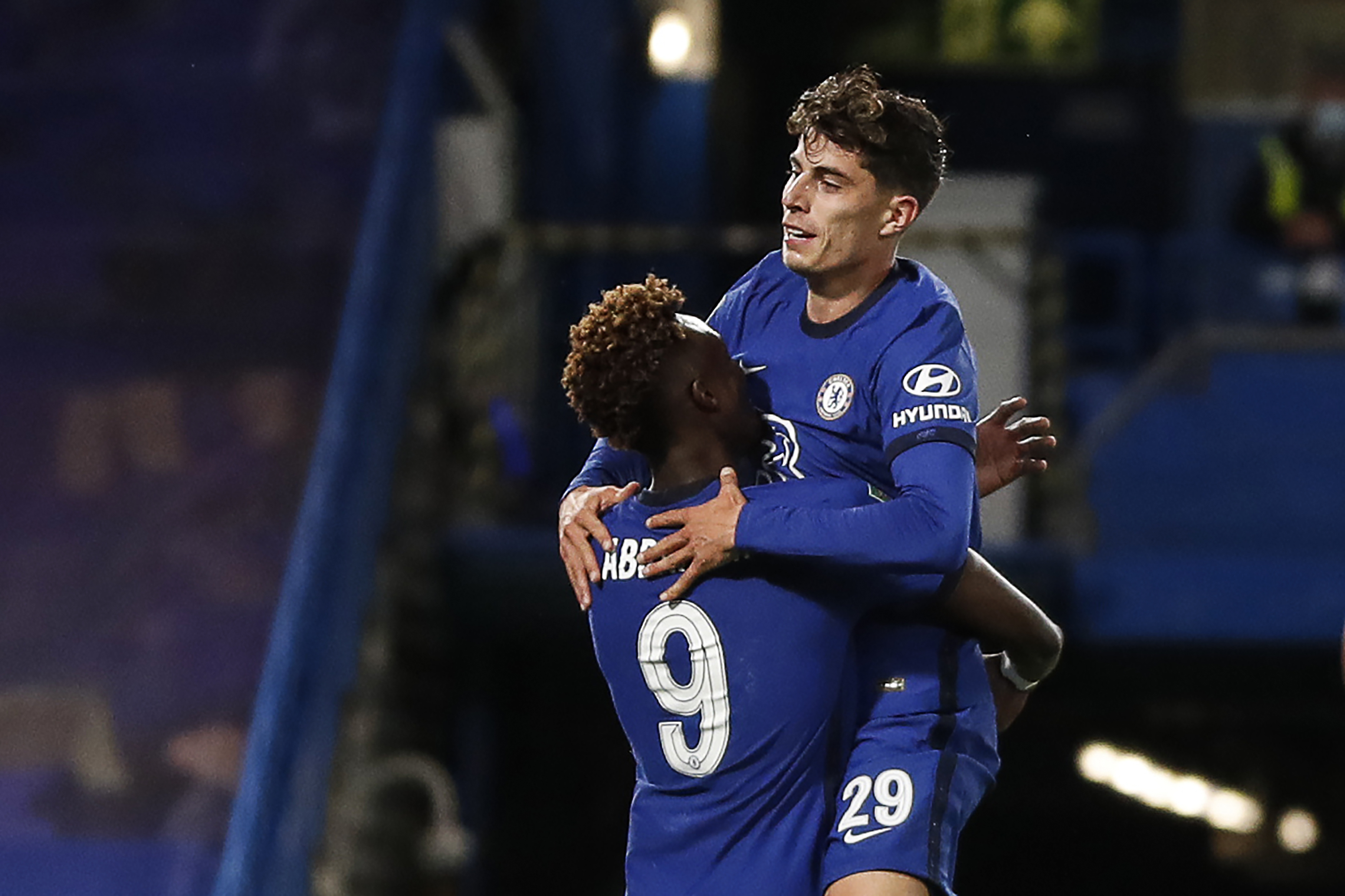 Tammy Abraham and Kai Havertz (right) both netted